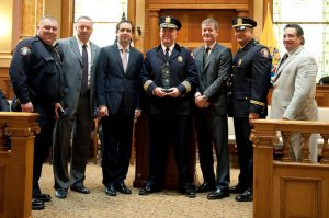 Jersey City Police Unions Presents Former Chief Robert Cowan with a recognition for his 34 years of service to the citizens of Jersey City.